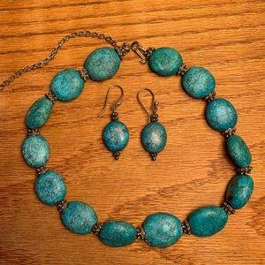 Turquoise boho necklace & earrings set hardly worn